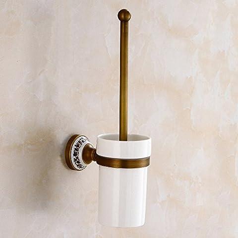 Antigüedades de latón sólido inodoro cerámico portacepillos baño baño aseo retro continental portacepillos cepillo sanitario wc portacepillos wc Brush set