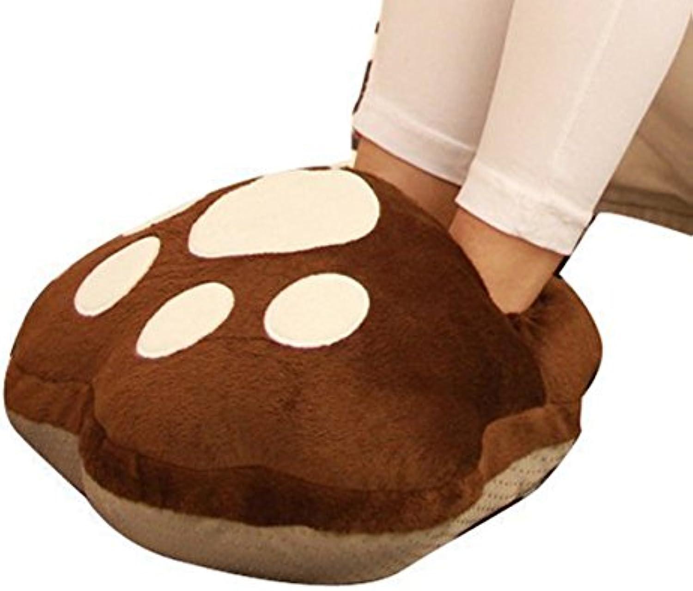 EUBUY de pata de oso USB Powered invierno calentador de pies zapatos suave cojín de peluche calentador de calefacción...