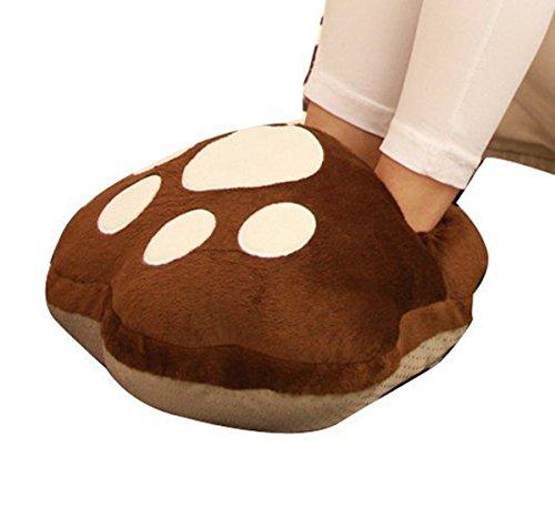 EUBUY Fashion Cute Bear Paw Style Unisex Mehrzweck-Waschbare USB Beheizte Hausschuhe, USB Fußwärmer, USB Fußschuhe, Karton-Design (Kaffee)