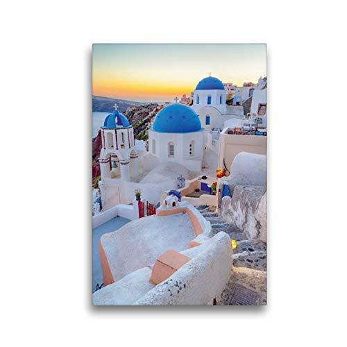 Calvendo Premium Textil-Leinwand 30 cm x 45 cm hoch, Oia am Abend   Wandbild, Bild auf Keilrahmen, Fertigbild auf echter Leinwand, Leinwanddruck Orte Orte - Sonnenuntergang Terrasse
