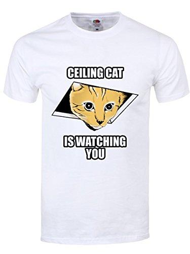 herren-t-shirt-ceiling-cat-is-watching-you-weiss