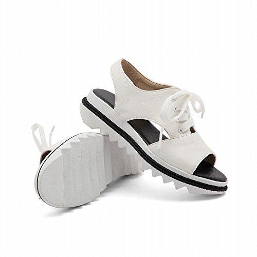 Mee Shoes Damen open toe Slingback Plateau Sandalen Weiß