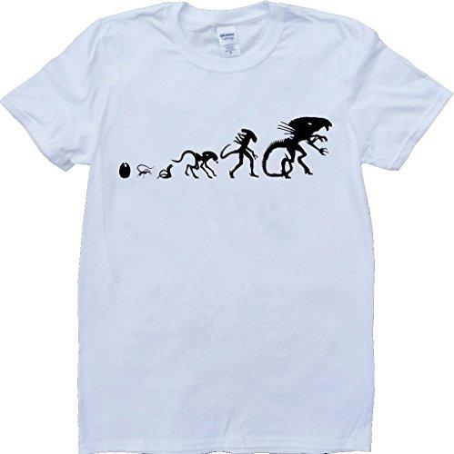 Alien Evolution Weiß Benutzerdefinierten Gemacht T-Shirt Weiß