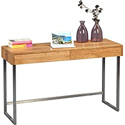 HomeTrends4You 616022 – Consola/escritura mesa, madera, madera de roble/acero inoxidable, 120 x 42 x 75 cm