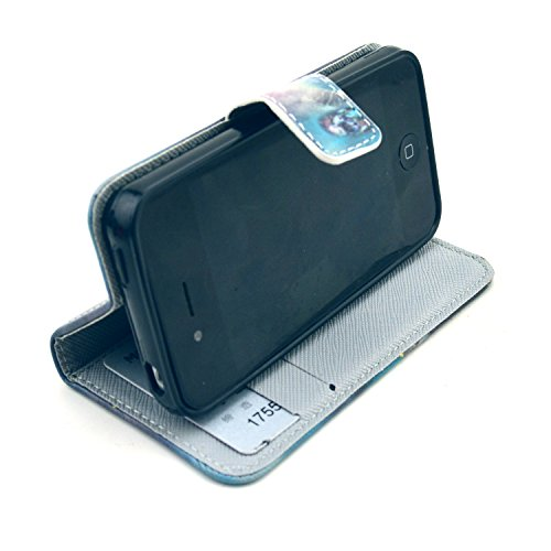 MOONCASE iPhone 4 Case Motif Conception Coque en Cuir Portefeuille Housse de Protection Étui à rabat Case pour iPhone 4 4S P65