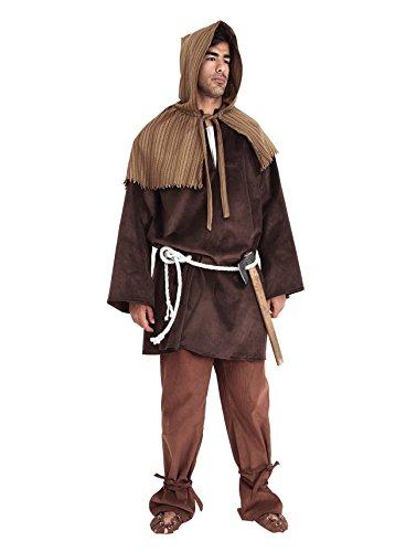 Kostüm Schuhe Holzfäller (Mittelalter Kostüm Holzfäller 4-teilig - braun/grün - One)