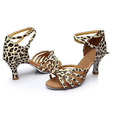 Scarpe da ballo - Personalizzabile - Da donna - Balli latino-americani / Salsa / Samba - Tacco su misura - Raso / Finta pelle -Nero / Blu leopard