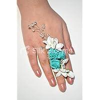 Pure White Roses Stephanotis & turchese cristalli anello nuziale corpetto