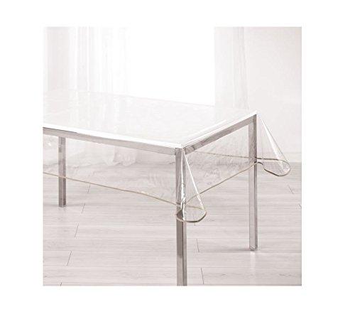 Ligne Décor Nappe cristal rectangle 140 x 240 cm PVC uni Garden/biais taupe