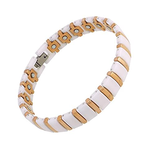 magnohealth Magnetarmband Wolframcarbid Keramik und weiß & Rose Gold Link-Armband mit GRATIS Geschenkbeutel–Hi Starke Neodym-Magnete
