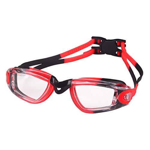 ruiruiNIE Kinder Baby Schwimmbrille Wasserdichte Anti-Fog UV-beständige Schwimmbrille Elastischer Kopfgurt Eyewear Soft Silikonkissen - Schwarz + Rot -
