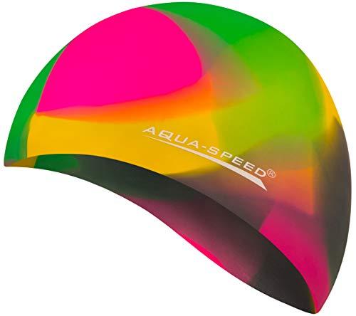 Aqua Speed® Set - BUNT Badekappe + Kleines Mikrofaser Handtuch   Silikon   Bademütze   Badehaube   Schwimmhaube   Erwachsene   Damen   Herren   Kinder, Kappen Designs:05. Bunt / 90