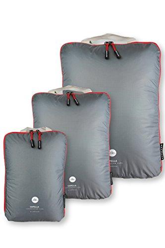 NORDKAMM Packtaschen Set (L, M, XL) mit Kompression, Koffer-Organizer, Packwürfel, Kleidertasche, Gepäck-Organizer auf Reisen, im Rucksack, Backpack, als Kompressionsbeutel, leicht, mit Schlaufe