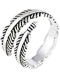 lumanuby titanio acero anillo abierto de cristal elegante pluma anillos boda joyería para las mujeres hombres ajustable (plata)