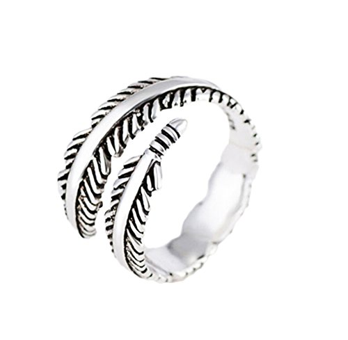Cdet Unisex Ring Size Adjustable Fashion Gothic Punk Feather Pattern Lady Ring Jewelry Accessories Men Love Gift