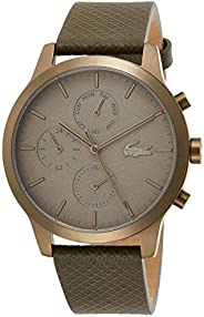 Lacoste Mens Quartz Watch, Chronograph Display and Leather Strap 2010999