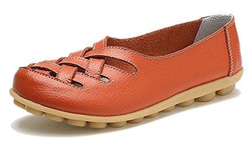 Eagsouni Damen Mokassins Bootsschuhe Leder Loafers Schuhe Flatschuhe Halbschuhe Flache Fahren Halbschuhe Slippers - Orange Ballerinas Frauen Schuhe