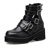 LFLXUE Buckle Gothic Black Leather Boots Women Hollow Out Chunky Heel Autumn Shoes Female With Zipper