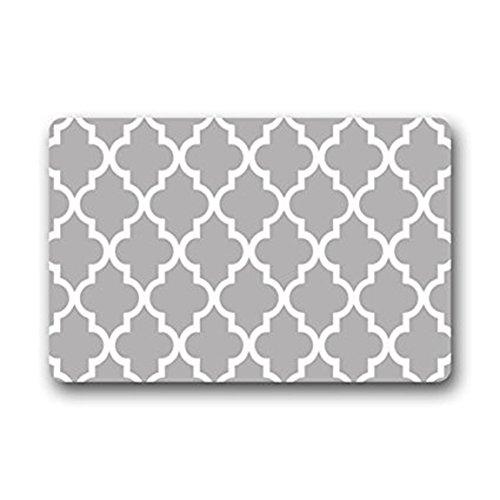 Eureya Entrance Mat marokkanischen Lattice Geometrische Muster Grau Rutschfeste Badezimmer Wohnzimmer Küche Bereich Teppiche Fußmatten Fußmatte für Innenbereich/Außenbereich 40x 60cm (Badematte Marokkanischen)