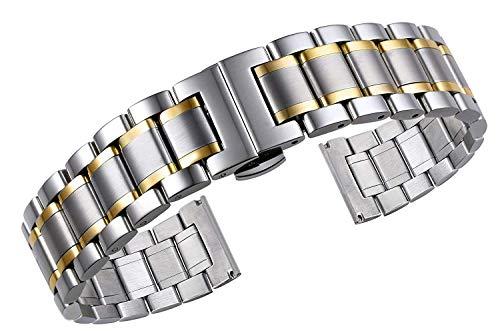 MACUH Home Metallarmbänder aus massivem zweifarbigem Silber und Gold mit gebogenen und geraden Enden (Size : 17mm)