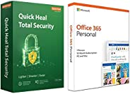 Quick Heal Total Security Latest Version - 2 PCs, 3 Years (DVD)&Microsoft Office 365 Personal for 1 user (
