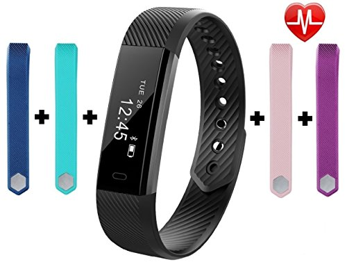 Fitness Tracker, touchscreen SUNKAX Smart Baraclet con monitor cardiofrequenzimetro, tracciatore di qualità del sonno, notifica SNS, ripresa in remoto, Bluetooth 4.0 lp67 Tracciatore di attività impermeabile per Android / iOS con 4 Wristband gratuito