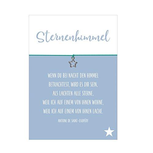 Wunscharmband Trauer und Trost Sternenhimmel mit Stern Anhänger versilbert, elastischem Textilband in türkis und liebevoller Karte (Trauer Schmuck)