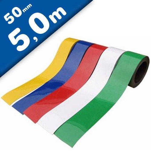 Bande magnétique de couleur, flexible et avec fortement magnétisé - 0,85mm x 50mm x 5m - pour étiqueter et marquer, Couleur:blanc