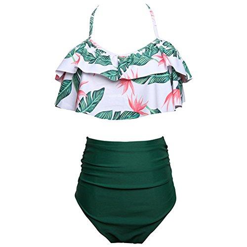 Femmes été Sexy Taille Haute Maillot de Bain Volant à Volants rembourré Crop Top Maillots de Bain Deux pièces Bikini Set Beachwear