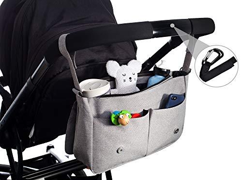 Deluxe Organizer Kurze Tasche (Kinderwagen-Organizer von EMJA I Premium Buggy-Tasche grau mit Reißverschluss I Perfekte Aufbewahrungstasche mit Karabiner-Haken zum umhängen I Deluxe Wickeltasche wasserdicht)