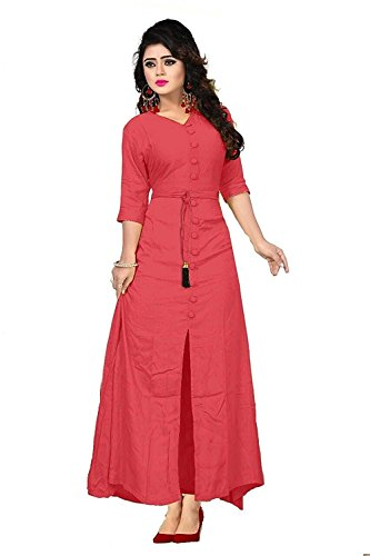 param mart Women's Cotton Long Sleeve V-neck Full Stitch A-Line Kurti (Pink, Free Size)