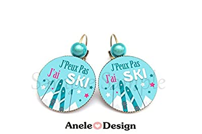 Boucles d'oreille Cadeau J'peux pas J'ai SKI - Montagne Snow Piste Apéro bleu rose argenté original tendance
