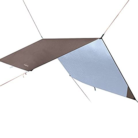 Hammock Rain Fly Tent Tarp 3m x 3m, Portable Lightweight Waterproof Camping Shelter Sunshade for Camping Outdoor Travel (Coffee, 300*300cm)