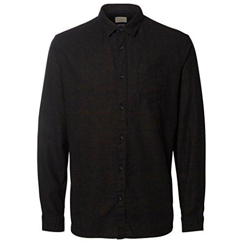 Selected Homme Uomo Camicia Maniche Lunghe Woken Taglia 2 Nero