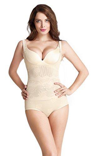 Aibrou Damen Shapewear Figurformender Body Shaping Bauchweg Bodyformer Mieder mit Getrennte Unterhose auf Rückseite