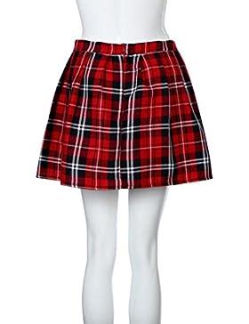 Faldas, Challeng chicas escocesas a cuadros de Escocia Falda plisada de uniforme escolar Algodón Tartán (xl, rojo)