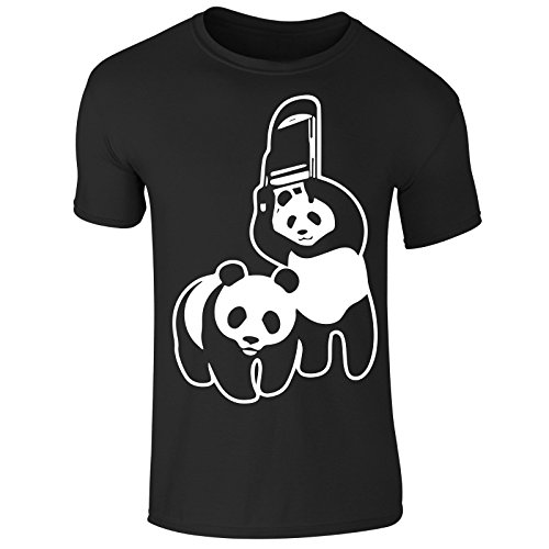 Mens Wrestling Funny Save The Panda The Rock WWE Raw T-Shirt (X-Large) Black (Rock T-shirt The Wwe)