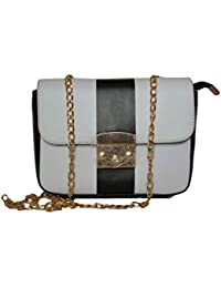Sling Bag With Golden Chain/black &white Colour Purse/Stylish Sling Bags For Girls