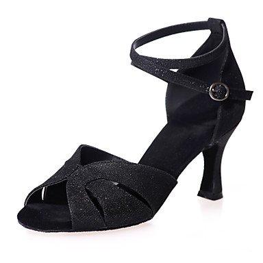 XIAMUO Nicht anpassbar - Die Frauen tanzen Schuhe funkelnden Glitter funkelnden Glitter Latein Sandalen entzündete Ferse PracticeBlack/Blau/Braun/Rot/ Rot