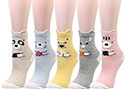 Wish Island Women's Cute 3D Animal Fun Crazy Cotton Crew Dress Socks