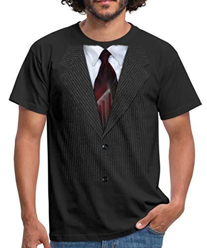 Spreadshirt Anzug Mit Krawatte Scherz Männer T-Shirt, XL, Schwarz