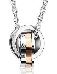 a081009a091e Daesar 2PCS Collar Acero Inoxidable de Parejas Interlocking Doble Anillos Colgante  Collar