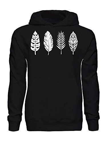 Palm Leaf Bird Feather Graphic Men's Hooded Sweatshirt Medium