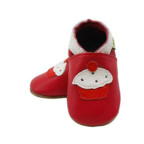 Weiche Sohle Karikatur Enfants Krippe Kugelsicherer Sayoyo Rot Baby Leder Lauflernschuhe Schuhe TwIfxfXq6
