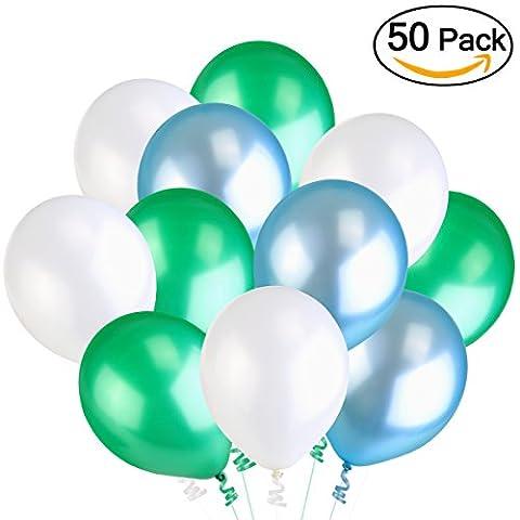 NUOLUX Luftballons,Latexballons,3,2 g grün blau Hochzeit Luftballons, hohe Qualität,3 Farben, 50 Stück