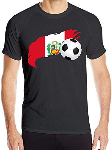 Balón de fútbol con Bandera de Perú Camiseta de Manga Corta para Hombre Camisetas de Entrenamiento...