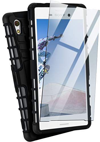 moex® Panzer-Schutz Set - Tank Case + Schutzglas passend für Sony Xperia M4 Aqua | Gehärtetes Glas + Extrem robuste Double-Layer Hülle, Schwarz -