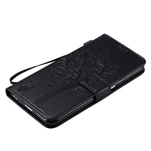 EUWLY Lanyard Portafoglio Cover in Pelle per [iPhone 6 Plus/iPhone 6s Plus (5.5)],Creativo Divertente e Carina Retro Wallet Custodia [gatto, Albero] Goffratura Modello Cover Case per iPhone 6 Plus/iP Gatto Albero,Nero