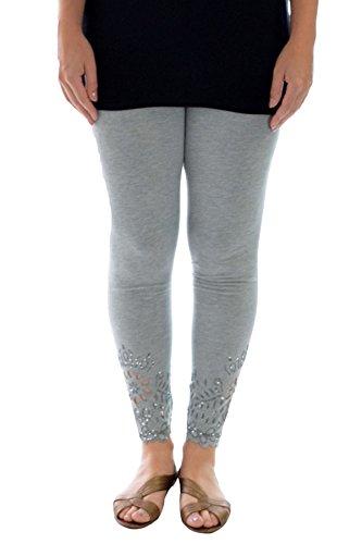 781d33b026f Womens Plus Size Leggings Beaded Floral Sequin Laser Cut Soft Pants  Nouvelle Collection (Size 08