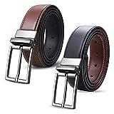 ghj Gürtel Herren Gürtel Leder Gürtel für Herren aus echtem Leder Zwei Verwendungsmöglichkeiten von einer Schnalle Schwarz und Braun (Size 95)